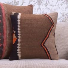 Southwestern Retro Rug Pillow Handmade 16x16 Square Decor Kilim Cushion
