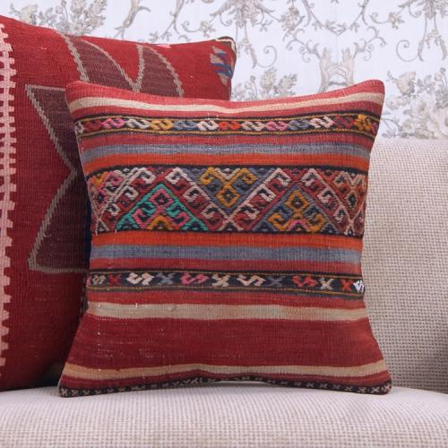 "Square Kilim Throw Pillow 16x16"" Retro Embroidered Rug Cushion Cover"