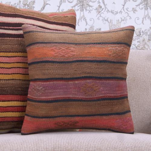 "Striped Vintage Kilim Cushion 16"" Retro Decorative Turkish Rug Pillow"