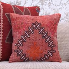 "Tribal Anatolian Red Kilim Pillow 16x16"" Vintage Handmade Rug Cushion"
