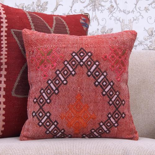 "Tribal Anatolian Red Kilim Pillow 16x16"" Vintage Handmade Rug Cushion"