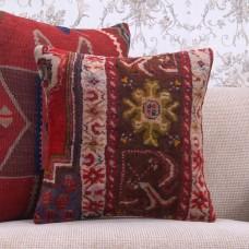 "Vintage Anatolian Rug Pillow 16x16"" Oriental Handmade Square Cushion"