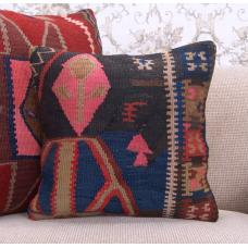 "Vintage Decorative Boho Pillow Ethnic Colorful 16x16"" Kilim Rug Cushion"