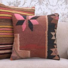 Contemporary Handmade Kilim Pillow Colorful Ethnic Rug Cushion Cover