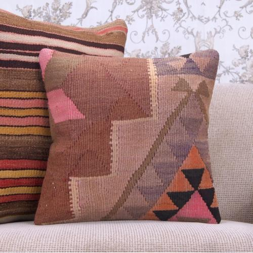 "Eastern Handmade Kilim Pillow 16x16"" Vintage Turkish Rug Cushion Cover"