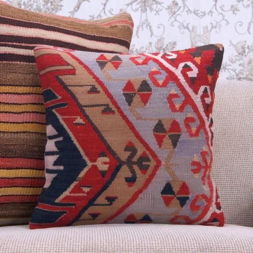 "Oriental Turkish Kilim Pillow 16x16"" Vintage Rug  Geometric Cushion"