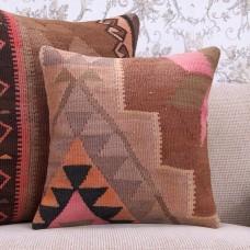 "Vibrant Handmade Kilim Pillow 16x16"" Decorative Eastern Rug Cushion"