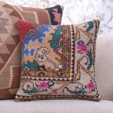 Bohemian Soft Rug Pillow Hand Knotted Vintage Turkish Carpet Cushion