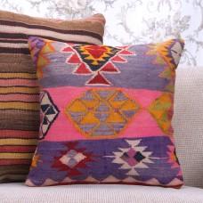 """Boho Chic Colorful Kilim Pillowcase 16"""" Embroidered Retro Throw Pillow"""