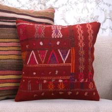 "Boho Cottage Red Embroidered Kilim Pillow 16"" Retro Decorative Cushion"