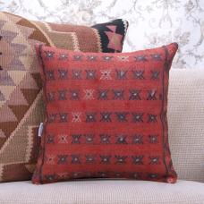 "Decorative Red Rug Cushion 16x16"" Square Embroidered Kilim Throw Pillow"