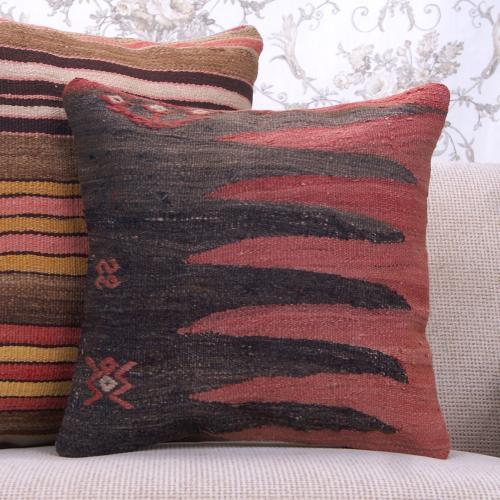 "Earthy Vintage Kilim Rug Pillow 16"" Tribal Designer Decorative Cushion"