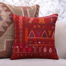 Embroidered Red Kilim Cushion 16x16 Vintage Interior Decor Throw Pillow
