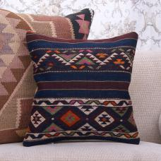 "Ethnic Blue Kilim Pillow 16"" Fine Turkish Rug Cushion Sofa Decor Throw"