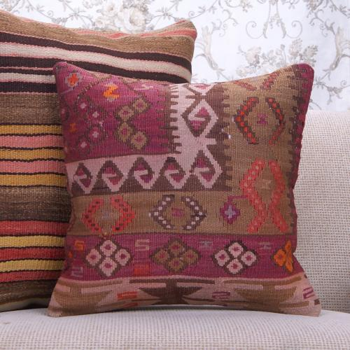 Geometric Decorative Kilim Rug Throw Pillow Antique Oriental Cushion