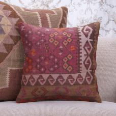 "Geometric Handmade Rug Pillow 16x16"" Retro Home Decor Accent Sofa Throw"
