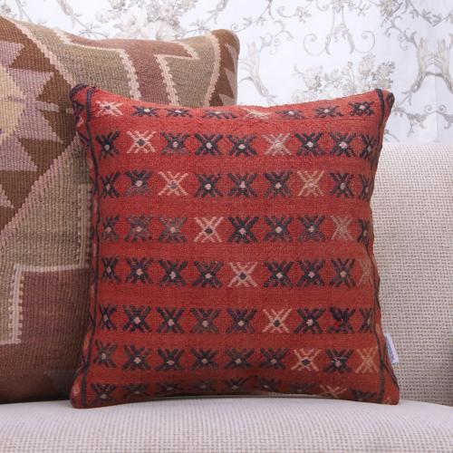 Red Handmade Kilim Pillowcase Embroidered 16x16 Ethnic Rug Throw Pillow