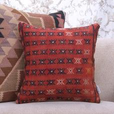 Red Vintage Kilim Pillow 16x16 Embroidered Rug Sofa Decor Throw Cushion