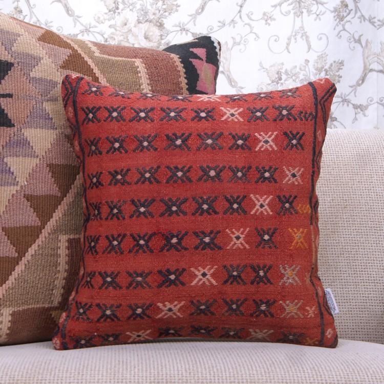 Red Vintage Kilim Pillow 16x16 Embroidered Rug Sofa Decor Throw Cushion