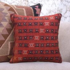 Rustic Interior Decor Throw Pillow Handmade Rug 16x16 Red Kilim Cushion