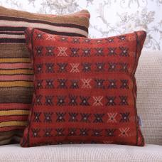 "Tribal Red Anatolian Kilim Rug Throw Pillow 16x16"" Decorative Cushion"