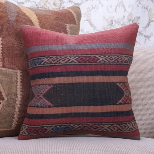 Anatolian Decorative Kilim Pillow 16x16 Vintage Old Turkish Rug Cushion