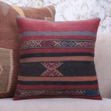"Anatolian Vintage Kilim Pillow Striped 16"" Turkish Handmade Rug Cushion"