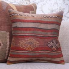 "Antique Handmade Rug Pillowcase 16x16"" Ethnic Home Decor Kilim Pillow"