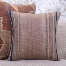 "Antique Handmade Rug Pillowcase Striped 16x16"" Muted Kilim Throw Pillow"