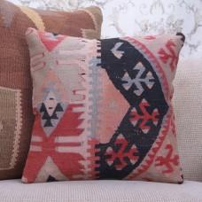 "Antique Oriental Kilim Pillowcase 16"" Geometric Colorful Rug Pillow"