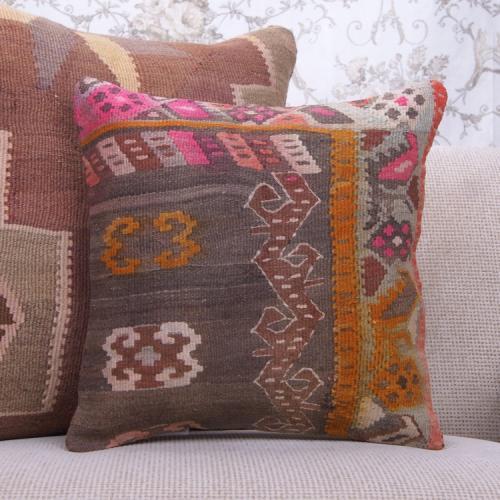 "Bohemian Home Decor Throw Pillow 16x16"" Colorful Vintage Kilim Cushion"