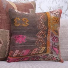 Boho Interior Decor Throw Pillow Colorful Vintage Turkish Kilim Cushion