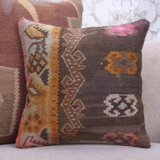 "Boho Living Decor Rug Pillowcase 16x16"" Vintage Handmade Kilim Pillow"