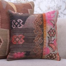 "Colorful Boho Throw Pillow 16x16"" Vintage Handmade Kilim Cushion Cover"