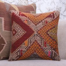 "Colorful Embroidered Kilim Pillow 16x16"" Vintage Eclectic Decor Throw"