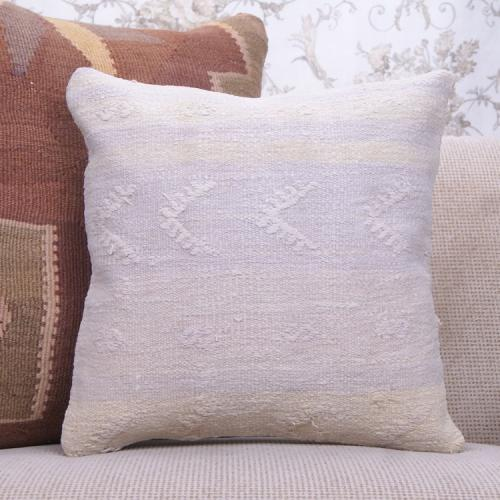 "Contemporary Kilim Throw Pillow 16x16"" White Embroidered Rug Pillowcase"