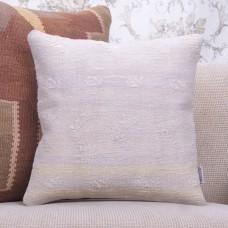 """Cottage Decor Pillow Embroidered 16x16"""" White Turkish Kilim Pillowcase"""