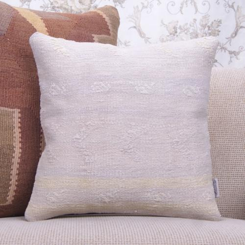 "Cottage Decor Pillow Embroidered 16x16"" White Turkish Kilim Pillowcase"