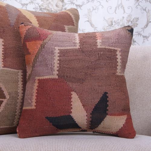 "Eastern Handmade Rug Pillow 16x16"" Vintage Square Kilim Throw Pillow"
