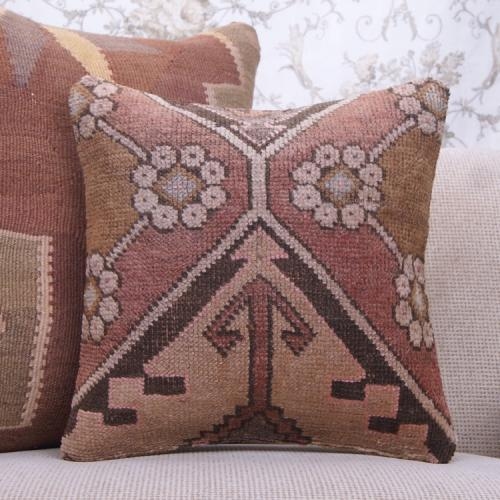 "Eclectic Decor Throw Pillow 16x16"" Handmade Turkish Rug Cushion Cover"