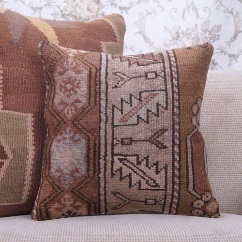 "Eclectic Interior Decor Handmade Rug Pillow 16x16"" Earthy Sofa Throw"