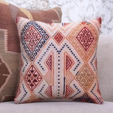 "Embroidered Boho Throw Pillow 16"" Colorful Vintage Turkish Kilim Cushion"