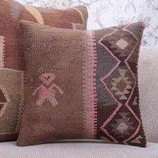 "Ethnic Tribal Kilim Pillow Vintage 16x16"" Handmade Turkish Rug Throw"