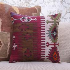 "Geometric Turkish Kilim Pillowcase 16x16"" Vintage Interior Decor Pillow"
