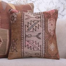 "Hand Knotted Soft Rug Pillowcase 16x16"" Earthy Living Room Decor Throw"