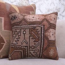 "Handmade 16x16"" Rug Pillow Earthy Decorative Vintage Home Decor Throw"