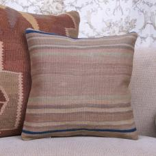 "Muted Old Kilim Throw Pillow 16x16"" Striped Vintage Turkish Rug Cushion"