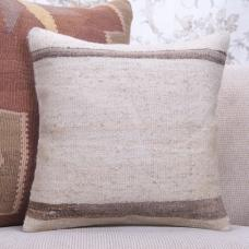 Natural Handmade Kilim Cushion 16x16 Striped Cottage Decor Throw Pillow
