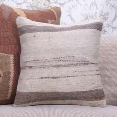 "Natural White & Gray Striped Kilim Pillow 16"" Turkish Wool Rug Cushion"