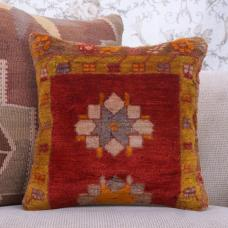 Oriental Handmade Turkish Rug Pillow Red Golden Bordered Retro Cushion